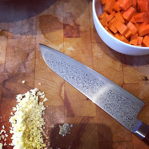 A good deal of chopping for this afternoon's cooking, so time to get the good knife out