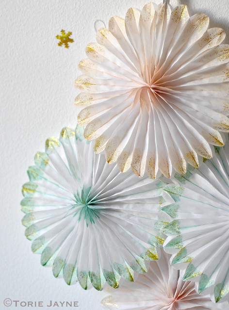 Hand painted and glittered paper fans 4