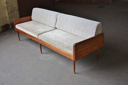 Smoldering Danish Midcentury Modern Solid Rosewood Platform Sofa Daybed (Denmark, 1950s)