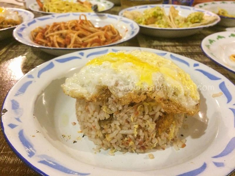 Corned beef fried rice with ikan masin