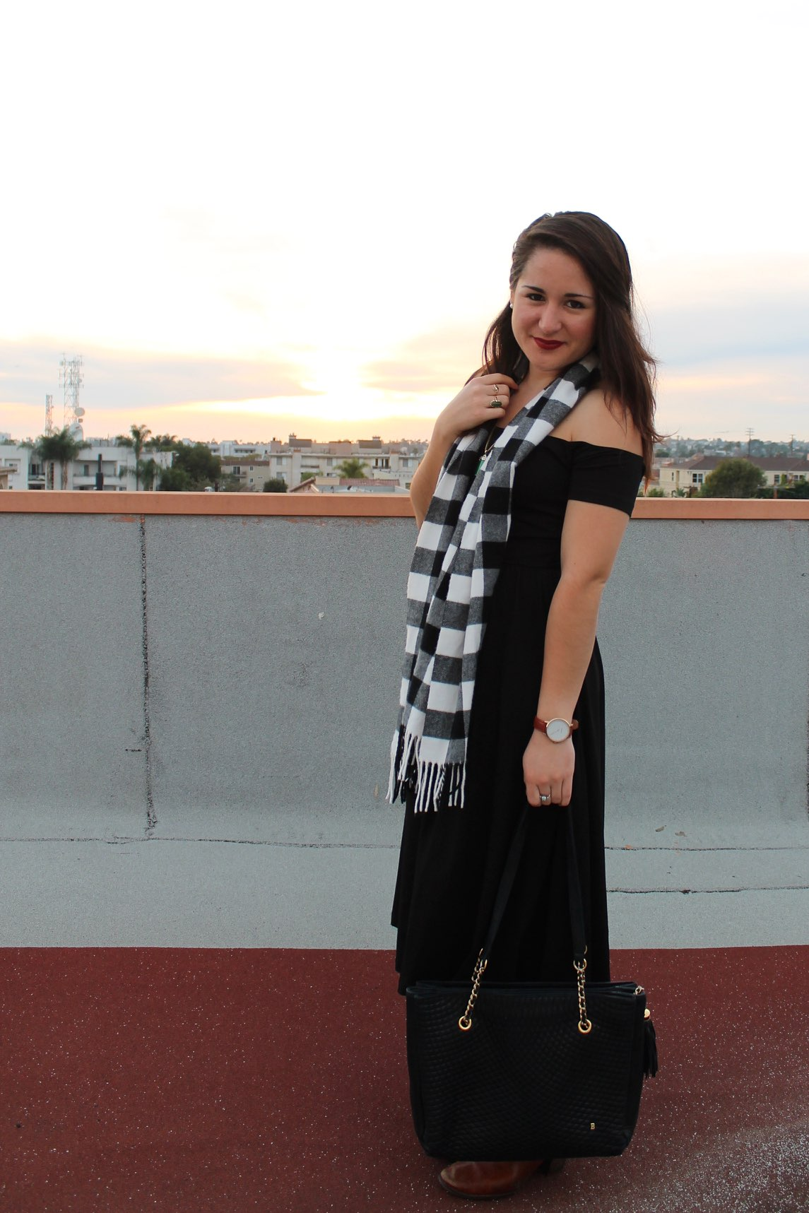 plaid scarf + little black dress #style #outfit #fashion