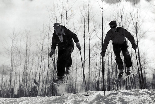 In this 1940 photo, two skiers are on the practice slope of Anvil Lake Ski Trail in Wisconsin.