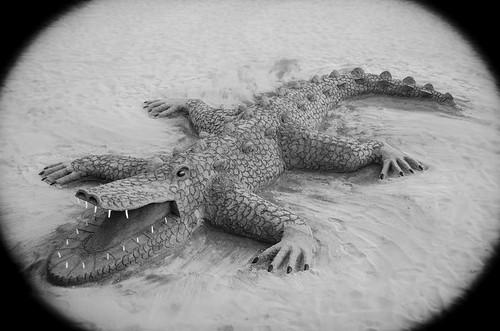 Beach-crocodile made of sand!