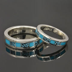 Turquoise and Spiderweb Turquoise Wedding Ring Set