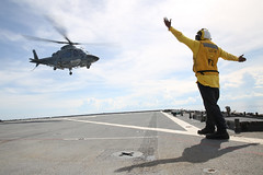 In this file photo, a Philippine Navy helicopter lands aboard USS Ashland (LSD 48) during exercise CARAT in June. (USMC/Cpl. Carl King Jr.)