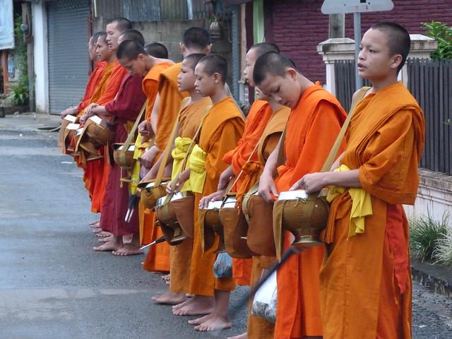 Monjes budistas en la ceremonia de entrega de limosnas en Luang Prabang (Laos)