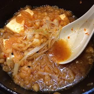 特製たぬき豆腐。ちょっと手をつけた後だけどw #長岡