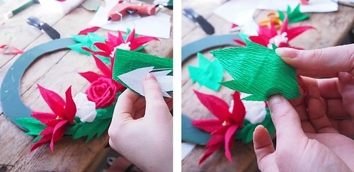 Crepe paper holly leaves tutorial