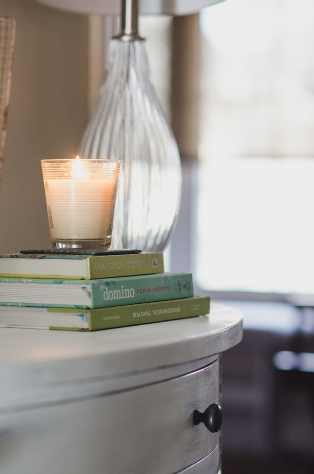 Big Box Store Furniture Goes Shabby-Chic with Chalk Paint® | green books and scented candle vignette