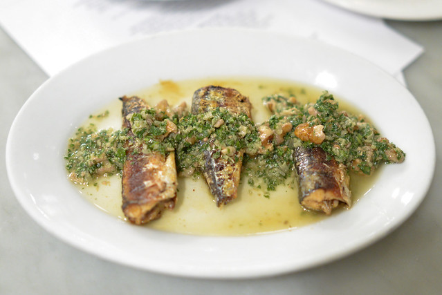 grilled sardines, walnut, parsley, shallot