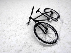 bmx bike(0.0), freestyle bmx(0.0), cyclo-cross bicycle(0.0), racing bicycle(0.0), tire(1.0), mountain bike(1.0), road bicycle(1.0), wheel(1.0), vehicle(1.0), snow(1.0), sports equipment(1.0), hybrid bicycle(1.0), iron(1.0), land vehicle(1.0), bicycle wheel(1.0), bicycle frame(1.0), bicycle(1.0), spoke(1.0),