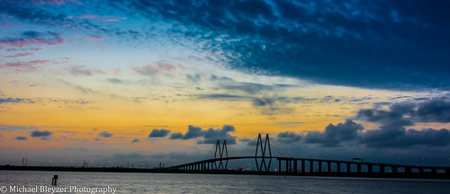 bridge sunset water baytown houston fredhartmanbridge