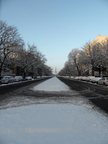 Hasenheide Richtung Südstern bei Schnee