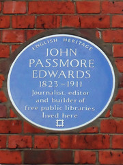 Photo of John Passmore Edwards blue plaque