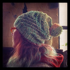 Here is my hand-dyed #leethalinstahat, large stitch count, extra large height (for extra slouch), pom-pom on top!  It also works really well to fold the ribbed brim section under, making it extra thick and warm around the bottom, for a non-slouchy fit.  Y
