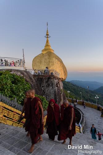 travel tourism rock stone religious pagoda asia buddha monk buddhism visit mount monks myanmar relic kyaiktiyo golen kinpun