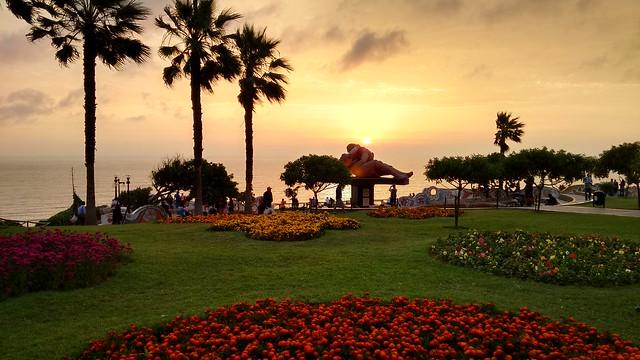 Sunset over Parque del Amor, Miraflores, Lima, Peru