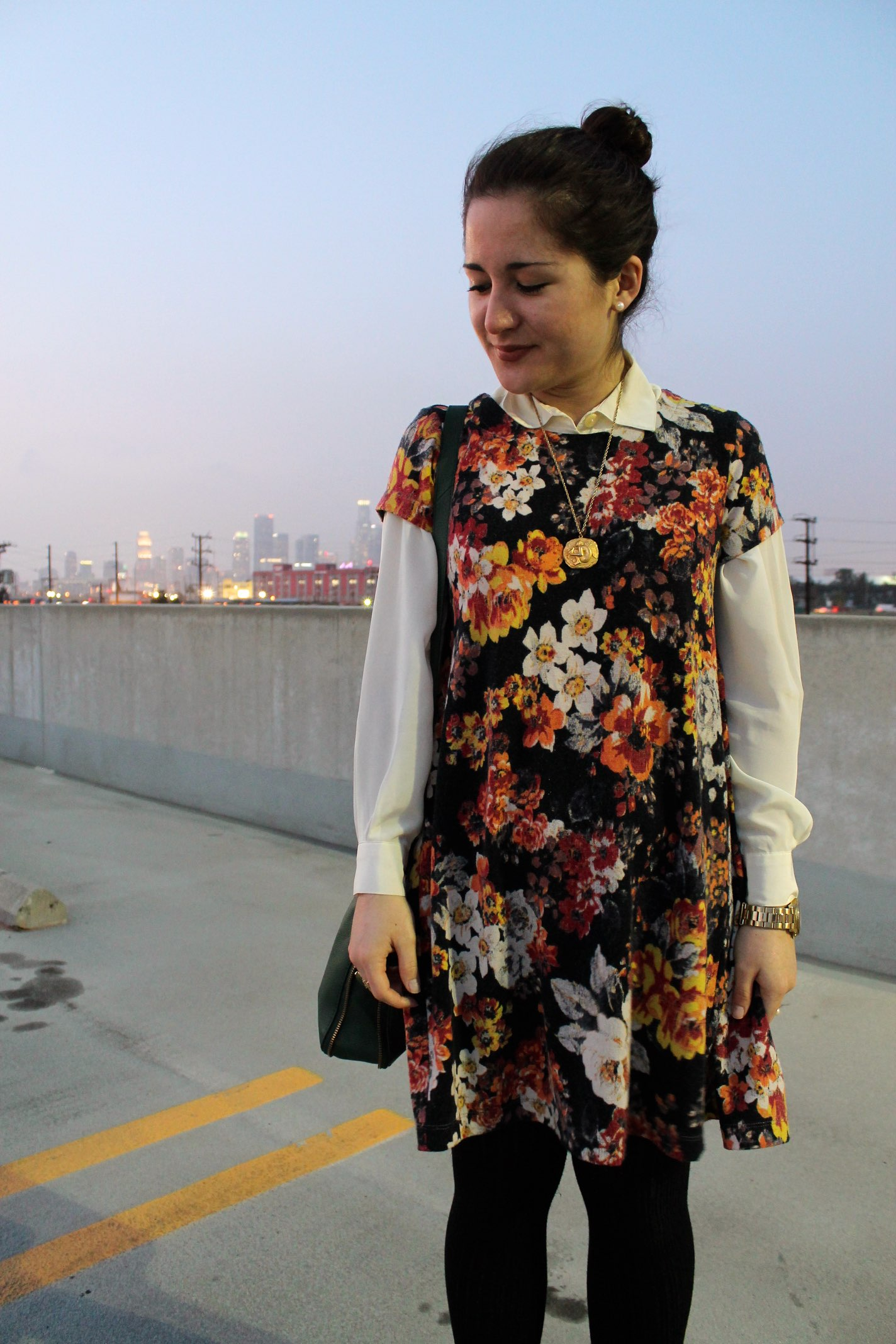 how to style a dress for winter: layered button-up under shift dress #style #ootd #outfit