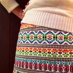 I love my skirt. Perfect for grey wintry days. And it goes with almost everything. It was a mini but I lengthened it by extending from the waist and added an orange contrast edge and fun back button.