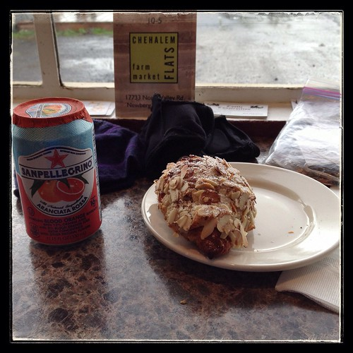 Carlton Bakery - almond croissant and Pellegrino