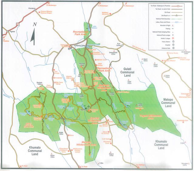 Mapa parque nacional Matobo, Zimbabwe