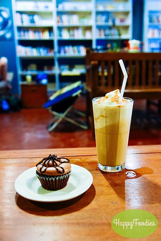 Ice Blended Caramel Mocha and Peanut Butter Cupcake