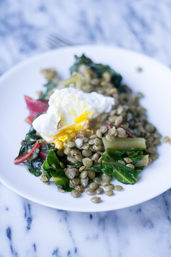 lentils with greens and poached egg