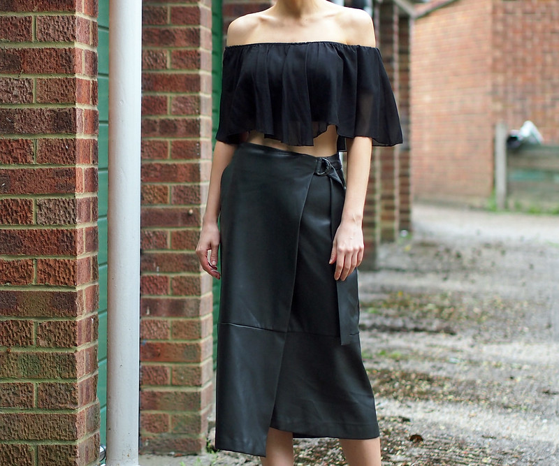 M&S, Marks & Spencer, Faux, Leather Wrap Skirt, Autograph, Crop Top, Off the Shoulder, Cold Shoulder, Bardot, Gypsy, How to Wear, Outfit Ideas, Styling Inspiration, UK Fashion Blog, London Style Blogger, Sam Muses, SS16