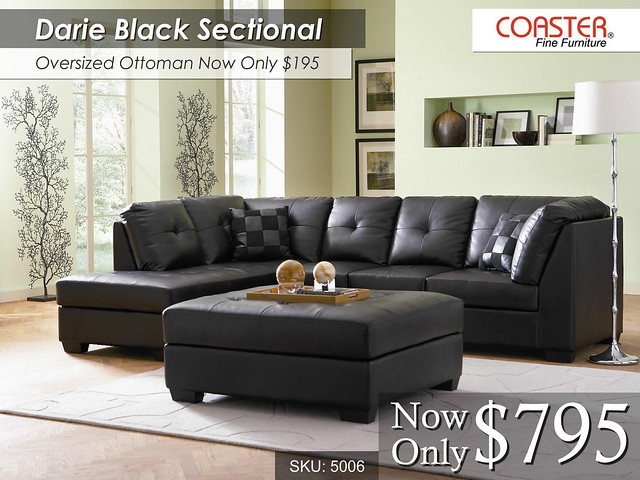 Darie Black Sectional by Coaster Furniture