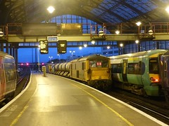 73136 at Brighton with a weed control train