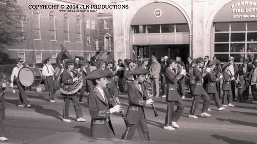 Tri-X Files 84_31.16a: MHS Band in front of the Fire Station (3/5)