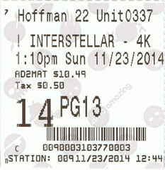 Interstellar ticketstub