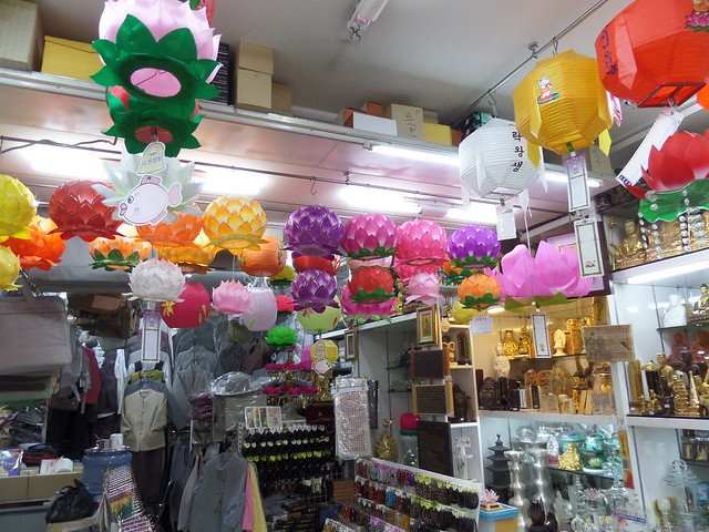 Buddhist Shop with Lanterns