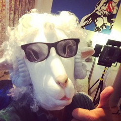 Mastering the art of the duck face selfie.  HAPPY HALLOWEEN!!! 🙌🎃👻.  #halloween #sheep #centaur  #london