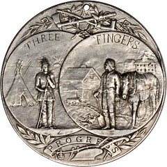 Three Fingers Indian Peace medal reverse
