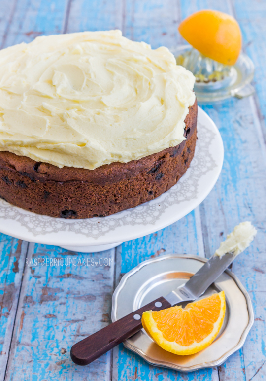 Chocolate Chip Buttermilk Cake with Orange Icing-4