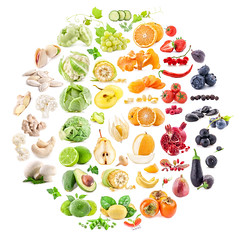 Big Collection of fruits and vegetables isolated o…