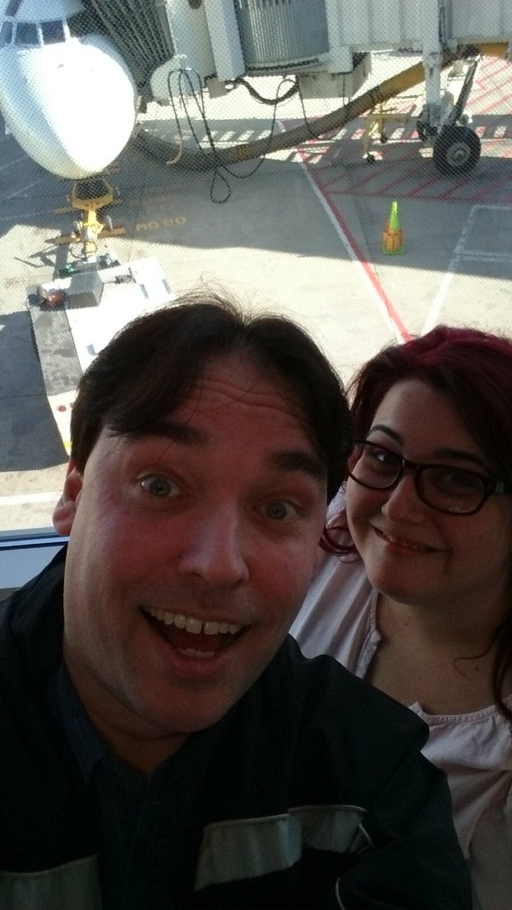 "Cordell and Toni at the airport, waiting for ""Flight 959"" to Nashville!"