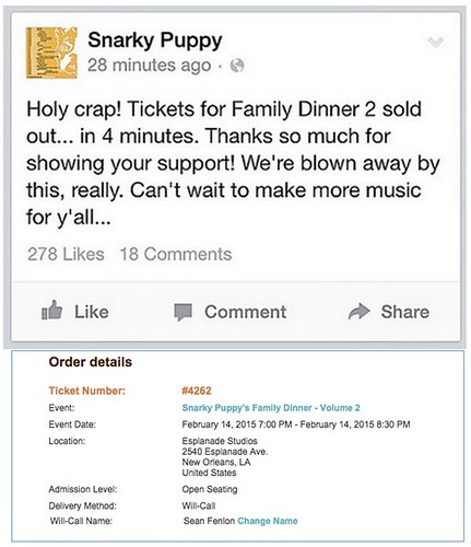 Snarky Puppy Family Dinner 2 Ticket thanks to Matt Fraser and Nguyen Le