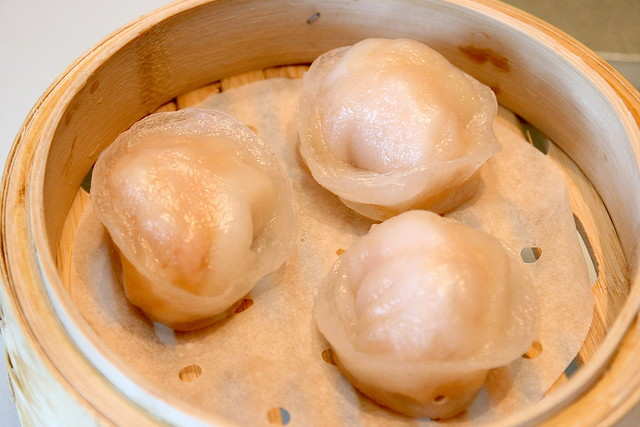 Supersized scallop and shrimp dumpling