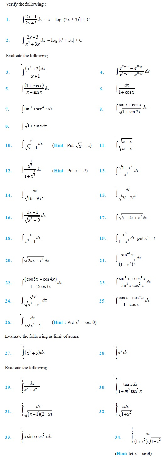 Class 12 Important Questions for Maths - Integrals