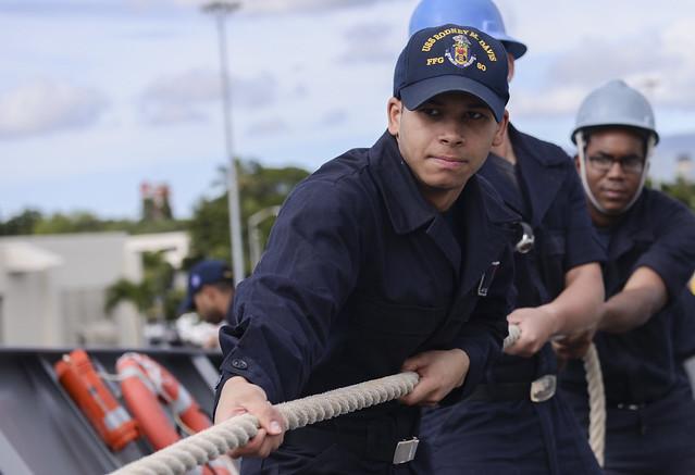USS Rodney M. Davis moors in Pearl Harbor