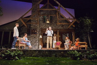 Tyler Lansing Weaks, Marcia DeBonia, Martin Moran, Allison Layman, Candy Buckley, and Haneefah Wood in Christopher Durang's smash-hit Broadway comedy Vanya and Sonia and Masha and Spike, directed by Jessica Stone, based on the Broadway direction of Nicholas Martin, playing January 2 – February 1, 2015 at the BU Theatre / Avenue of the Arts. Photo: Jim Cox