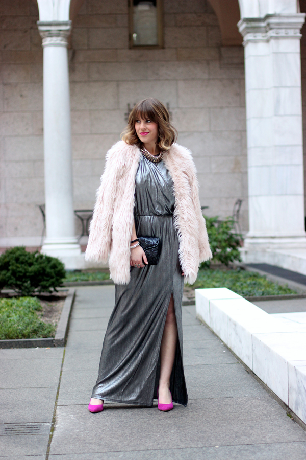 metallic holiday dress, boston fashion blogger, new years eve