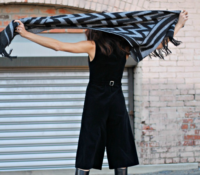 Culotte One-Piece w/ Belted Scarf