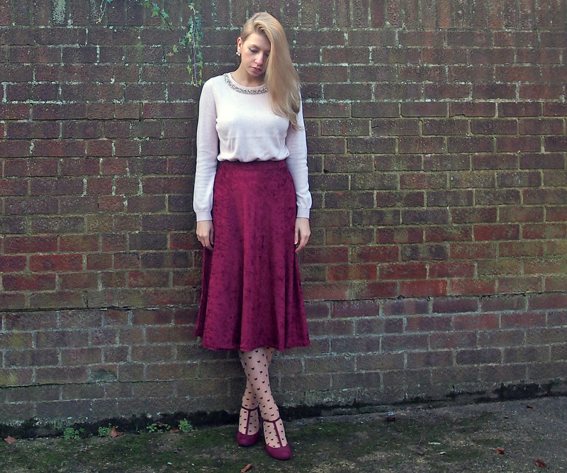 Double Drop Pearl Earrings, Studs, eBay, New Look Bow Print Nude Tights, T-Bar Wedge Shoes, Marks & Spencer, Cranberry, Raspberry, Burgundy, Oxblood, A-Line, '50s Style, Vintage Style, Styling Inspiration, Outfit Ideas, How to Wear, Sam Muses, UK Fashion Blog, London Style Blogger