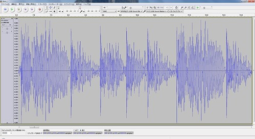 Audacity_SS_1 波形編集ソフトウェアのAudacityに波形を表示している状態のスクリーンショット画像。