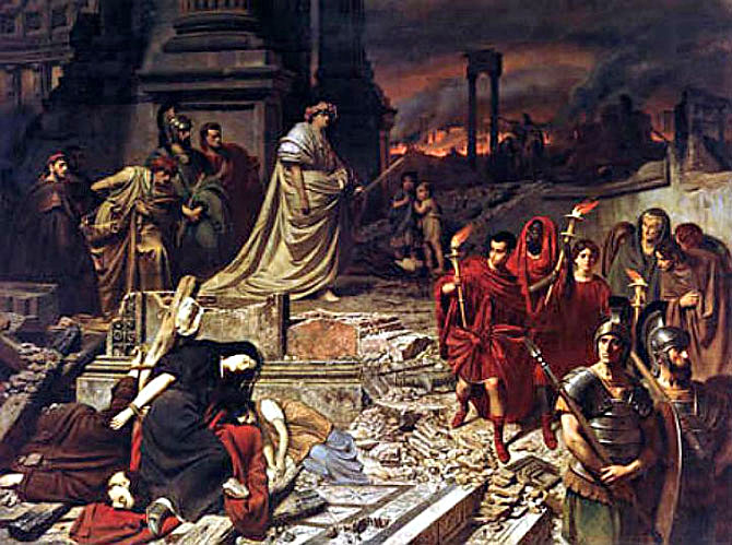 Nero Views the Burning of Rome by Carl Theodor von Piloty