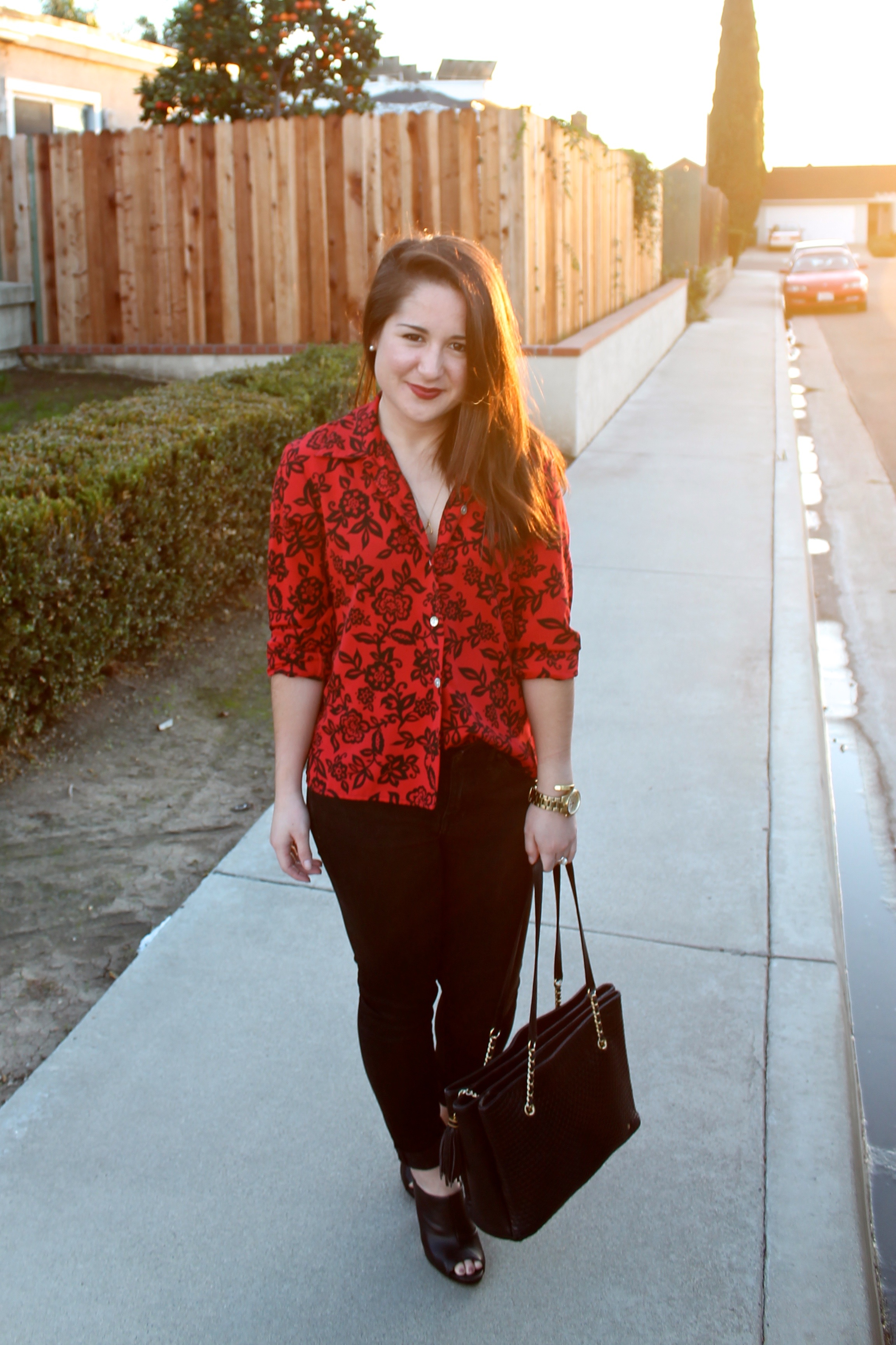 Christmas #outfit idea: red printed blouse + black denim #style
