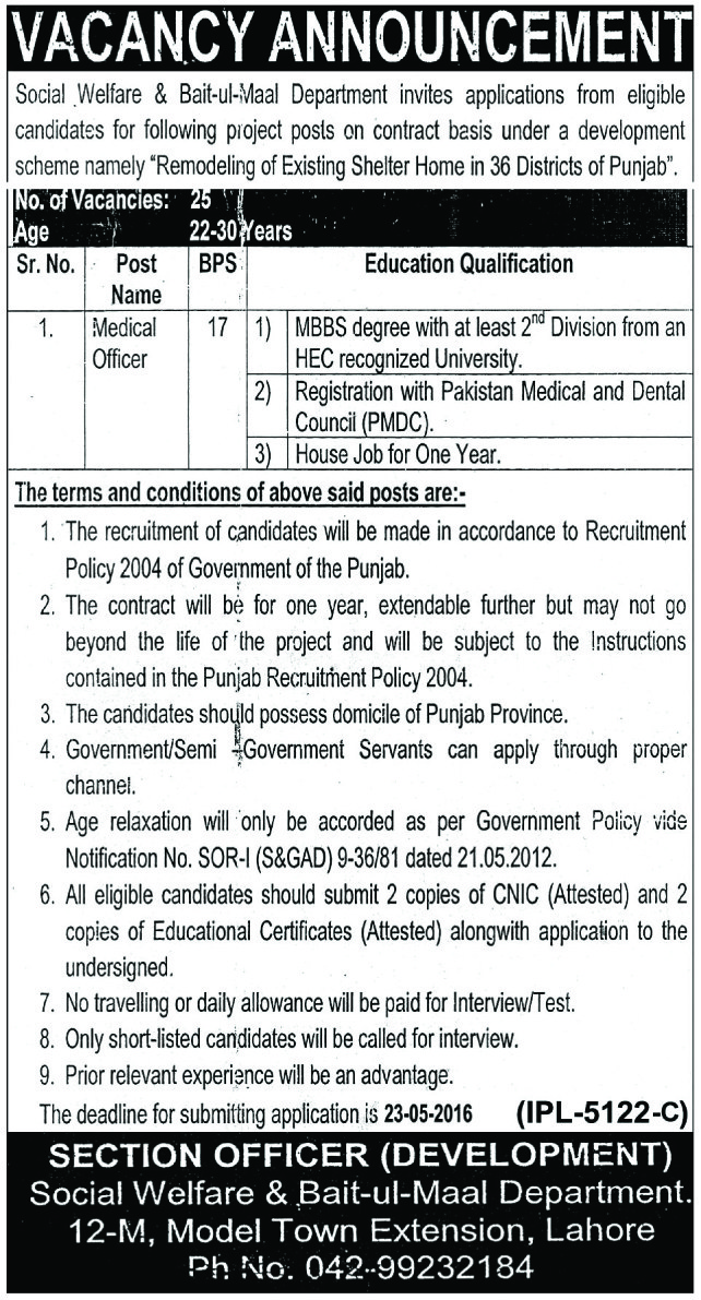 Social and Welfare Department Government of Punjab Jobs